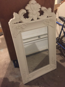 Stunning Bevel Mirror with Wide Antique Style White Frame