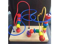 Large Wooden Colourful Bead Maze Roller Coaster