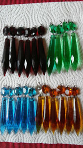 Antique Chandelier Crystals Prisms Colored Victorian Drops+Beads