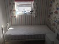 Kids white metal single bed with chrystal ends (can be removed)