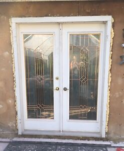 Set of Stanley glass doors for sale in the frame