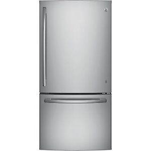 G.E. 18 CU FT STAINLESS STEEL FRIDGE