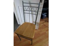 4 wood & metal dining chairs