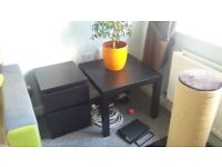 Black bedside drawer and coffee table