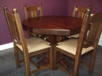 'Unusual' solid wood french oak hexagonal dining table and 4 chairs