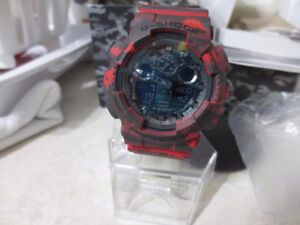 Casio Red Camo G Shock 50mm Case Watch Like New