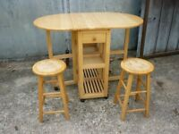 Pine table and 2 stools