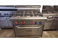 COMMERCIAL CAFE TAKEAWAY HEAVY DUTY TRISTAR 6-RING COOKER WITH OVEN NATURAL GAS COOKER ON WHEELS