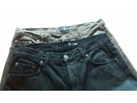 Men's Jeans - M&S Blue Harbour. 2 prs - brown & navy. Waist 91cm 36in; Leg 79 cm 31in. Hardly worn
