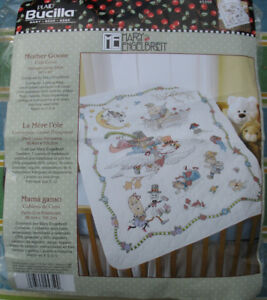 Mother Goose Crib Cover stamped cross stitch