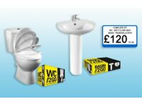 WC Toilet, Softclose Seat, Sink, Pedestal and Taps COMPLETE KIT