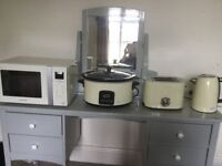 Cream Kettle toaster slow cooker and microwave set