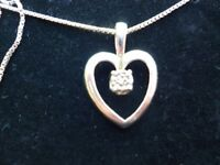 STERLING SILVER HEART AND DIAMOND NECKLACE WITH HALLMARKS - NEW - NO BOX HENCE PRICE
