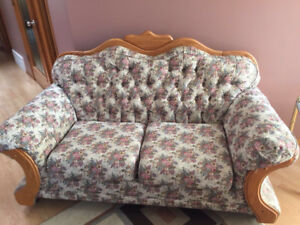 Handcrafted Oak Livingroom Set of 2 Loveseats and a Couch