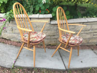 2 Ercol Windsor quaker dining armchairs with arms - V.VGC - with fitted cushions