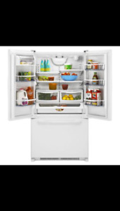 33' White Two Door Fridge with Bottom freezer