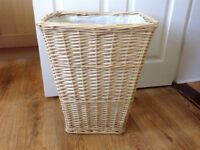 Wicker vintage style laundry basket - with liner - clean and from smoke free and pet free home