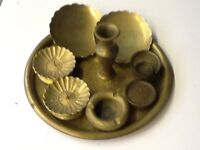 Brass Tray with Assorted Brass Collectibles
