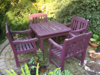 Hardwoood Garden Table and Chairs For Sale