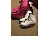 Used Childs Figure Ice Skates Size 35 uk size 2.5 White Leather inc Pink Skate Bag - Good Condition