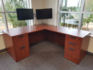 """Classic 66""""W x 30""""D Desk with 24"""" x 47"""" Return and Two Full Pede"""