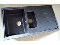 MODERN COMPOSITE KITCHEN SINK & DRAINER GREY BLACK 1½ BOWL REVERSIBLE 1000 X 500MM BNWT