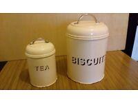Biscuit & Tea storage tins (matching pair)