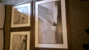 Set of 3 Bronze frames and pictures