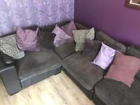 Brown Leather and fabric corner sofa excellent condition