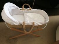Moses basket & stand with bedding from John Lewis