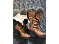 Moda in pelle knee high winter boots