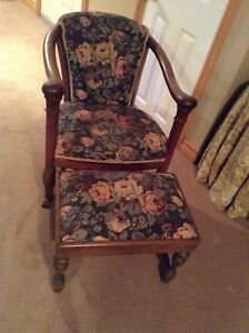 Rocking chair and stool *reupholstered*