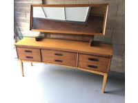 Mid Century curved front dressing table/sideboard with adjustable mirror