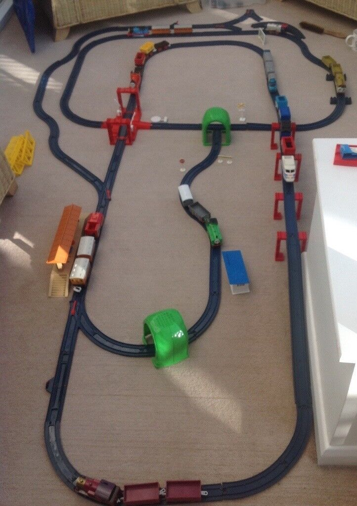 Train setin Newcastle, Tyne and WearGumtree - Train Set Large train Track and Trains Made By Tomy Tack can be made up in any combination, all Trains run on Track or on floor. Train Track is 45 Feet Long. with Bridges, Station and Signs With 10 Trains, 5 Thomas The tank with carriages Battery...