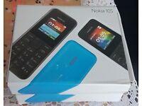 Nokia 105 - Black/Blue (Unlocked) Mobile Phone Cheap Basic Sim Fre