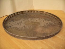 Oval Shaped Nickel Plated Serving Tray with Etched design.