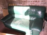 Green leather sofa settee free to a good home