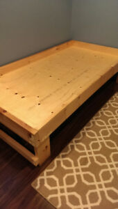Single bed frame with room for storage