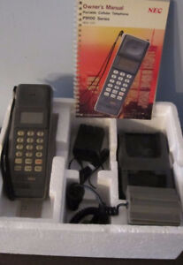 Vintage NEC Portable Brick Cellular Telephone and Accessories