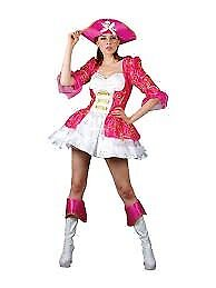 PINK SILKY PIRATE FANCY DRESS OUTFIT SIZE 6/8/10 PARTY OR HEN DO