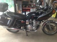 Suzuki gs1000g with period fairing and top box with panniers