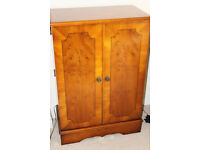 YEW WOOD CABINET FOR CD's WITH BI-FOLD DOORS