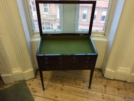 Vintage wooden Vitrine Table / Glass top display cabinet / Storage