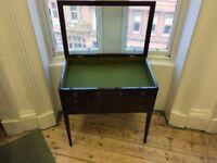 Vintage wooden Vitrine Table / Glass top display cabinet / Storage