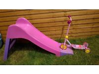 Peppa Pig scooter and Pink Slide.