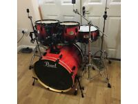 Fully Refurbished Pearl ELX Drum Kit in Red Fade ~Free Local Delivery~