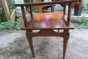 TWO beautiful walnut solid wood mid-century side tables