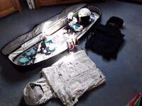 Snowboard Bundle! BURTON BLENDER SNOWBOARD PLUS Bag, Jackets, Goggles & Helmet!
