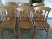 6 wooden farmhouse style chairs