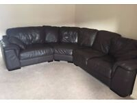 Brown Leather Corner Sofa and Swivel Chair